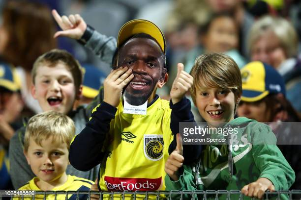 Mariners fans enjoy the atmosphere during the preseason match between the Central Coast Mariners and Central Coast Football at Central Coast Stadium...