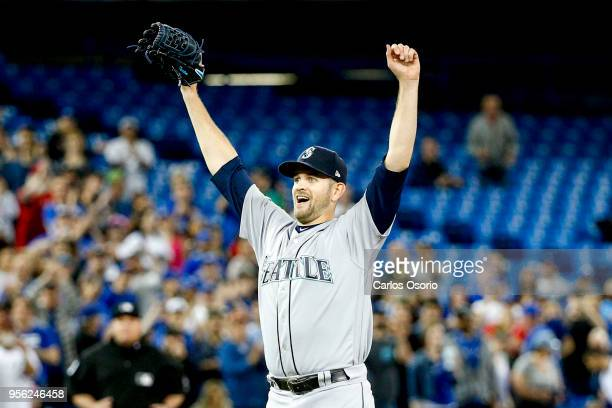 TORONTO ON MAY 8 Mariners pitcher James Paxton celebrates his nohitter as the Toronto Blue Jays host the Seattle Mariners at the Rogers Centre on May...