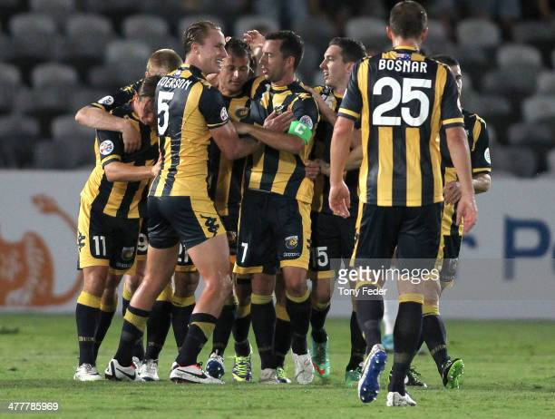 Mariners players celebrate a goal during the AFC Asian Champions League match between the Central Coast Mariners and Sanfrecce Hiroshima at...