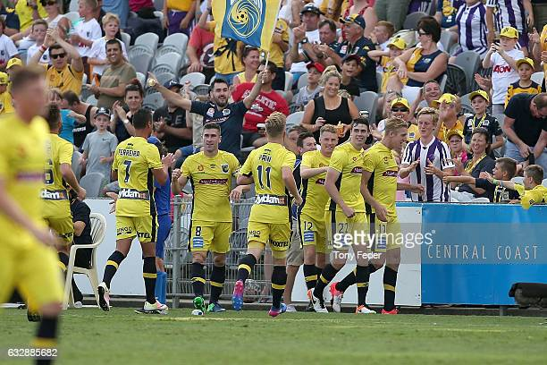 Mariners players celebrate a goal during the round 17 ALeague match between the Central Coast Mariners and the Perth Glory at Central Coast Stadium...