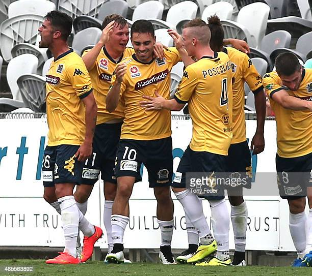 Mariners players celebrate a goal during the round 20 ALeague match between the Central Coast Mariners and Melbourne City FC at Central Coast Stadium...