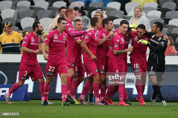 Mariners players celebrate a goal during the round five A-League match between the Central Coast Mariners and the Wellington Phoenix at Central Coast...