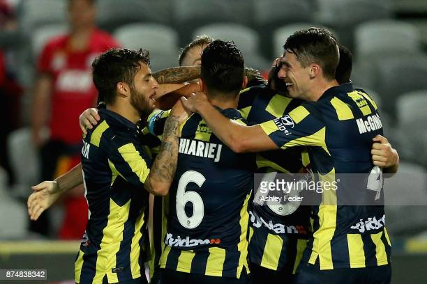 Mariners players celebrate a goal during the round seven A-League match between the Central Coast Mariners and Adelaide United at Central Coast...