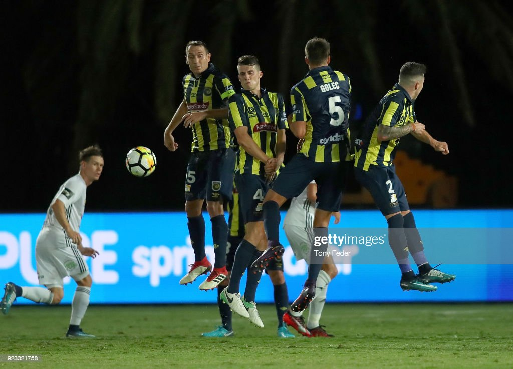 Mariners players stop a free kick during the round 21 A-League match between the Central Coast Mariners and the Wellington Phoenix at Central Coast Stadium on February 23, 2018 in Gosford, Australia.