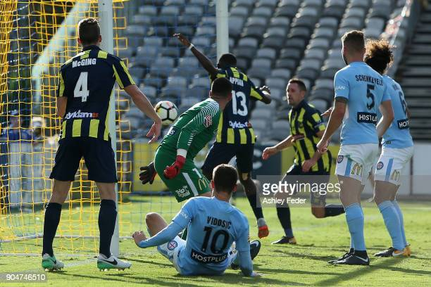 Mariners score their second goal during the round 16 ALeague match between the Central Coast Mariners and Melbourne City at Central Coast Stadium on...