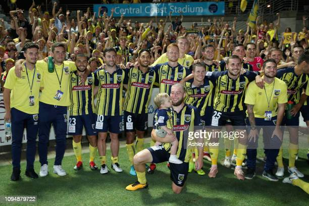 Mariners team and fans celebrate the win during the round 12 ALeague match between the Central Coast Mariners and Melbourne City FC at Central Coast...