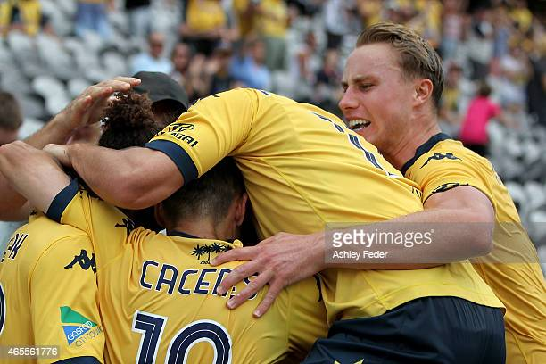 Mariners team mates celebrate a goal during the round 20 ALeague match between the Central Coast Mariners and Melbourne City FC at Central Coast...