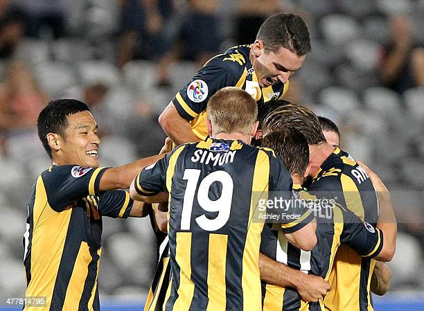 Mariners teammates celebrate a goal during the AFC Asian Champions League match between the Central Coast Mariners and Sanfrecce Hiroshima at...
