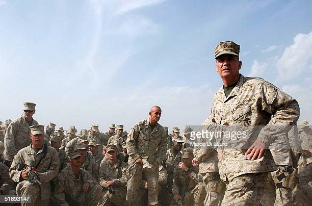 Marines 1st Expeditionary Force Commanding General Lt Gen John F Sattler delivers a speech to his Marines anticipating the final offensive on...