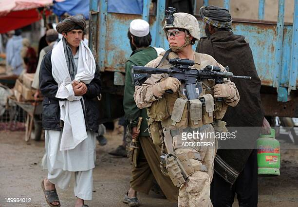 US Marines 2nd Batallion1st Marines Regiment Sargeant E Malendoski with Female Engagement Team patrols in Gamser Helmand province southern...