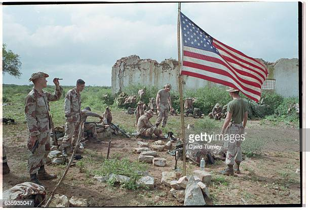 US Marines and American Flag