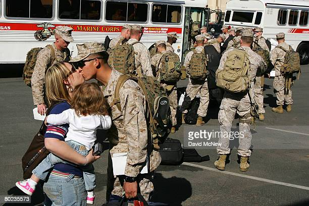 Marines and Sailors of the 1st Air Naval Gunfire Liaison Company deploy to Iraq for a seven-month tour in the Al Anbar Province on March 13, 2008 at...