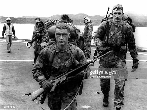 US Marines at the helicopter carrier USS Saipan during a NATO sea manoevure in Norway