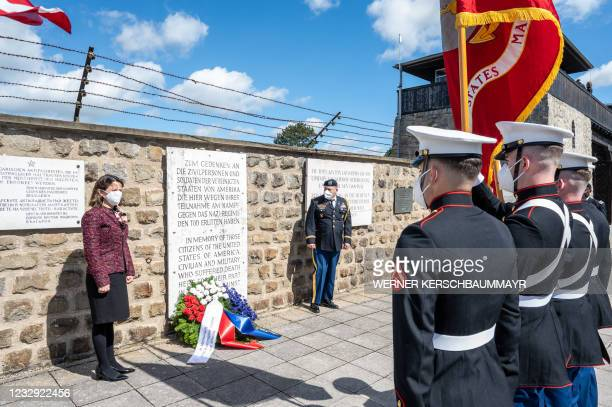 Marines attend the International Commemoration and Liberation Ceremony at the Memorial of the former concentration camp in Mauthausen, Austria on May...