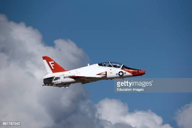 US Marines Corps T45 Goshawk jet flight trainer aircraft Flying above clouds over Florida USA