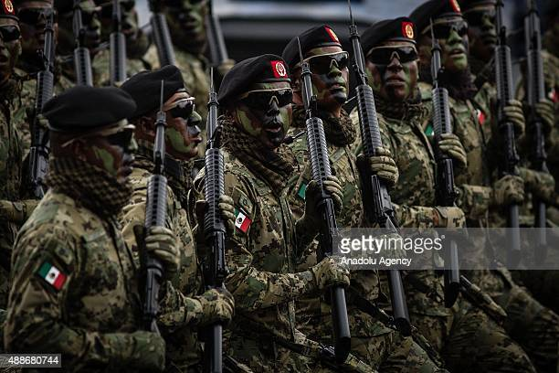 Marines during the Military Parade of the 205 of Independence of Mexico in the Zocalo Square at Mexico City Mexico on September 16 2015