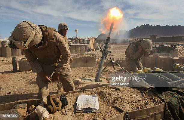 Marines fire 120mm mortars on Taliban positions on April 3, 2009 in Now Zad in Helmand province, Afghanistan. U.S. Marines from the 3rd Battalion,...