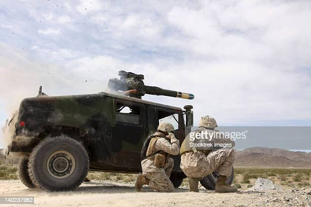 Marines fire a BGM-71 TOW missile.