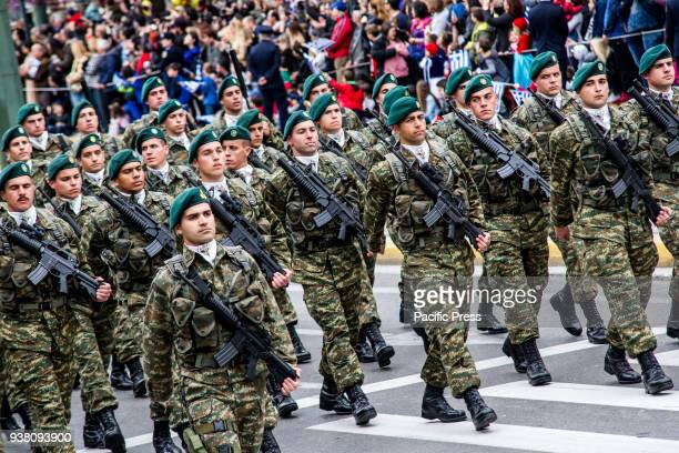 Marines forces are seen marching during the parade A military parade takes place due to Independence Day in Greece 25th March is the commemoration of...