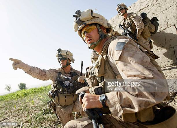 S Marines from 2nd Marine Expeditionary Brigade RCT 2nd Battalion 8th Marines Echo Co during the start of Operation Khanjari on July 2 2009 in Main...