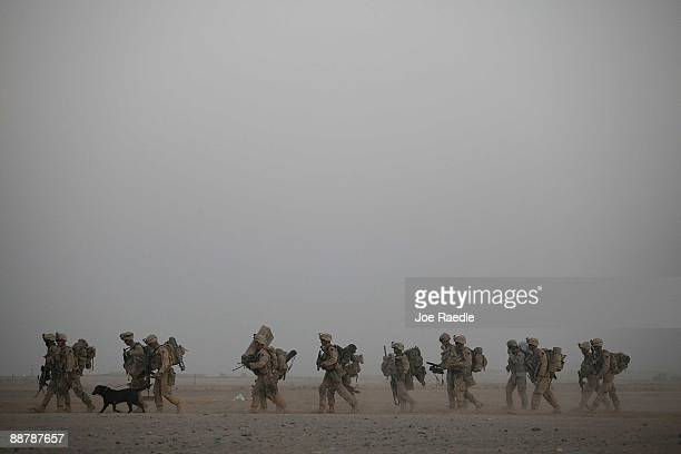 Marines from 2nd Marine Expeditionary Brigade, RCT 2nd Battalion 8th Marines Echo Co.walk to their helicopter during the start of Operation Khanjari...
