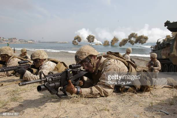 S Marines from 3rd Marine Expeditionary Force Battalion landing team deployed from Okinawa Japan participate in the US and South Korean Marines joint...