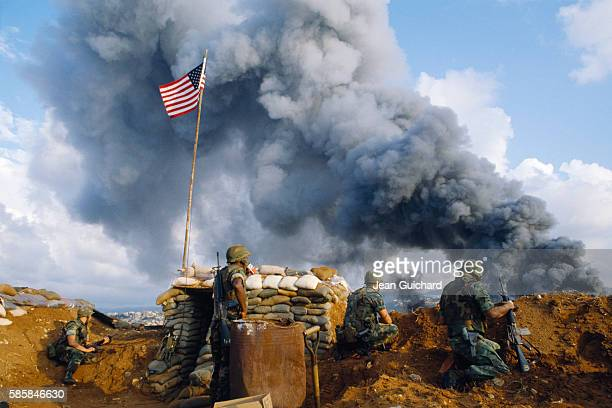 US Marines from Charlie company bunk down at the frontline near Beirut airport 500m from fighting between the Lebanese army and Shiite militia On...