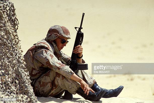 Marines from the 7th Brigade Marines in Jubail in Saudi Arabia on August 23rd 1990