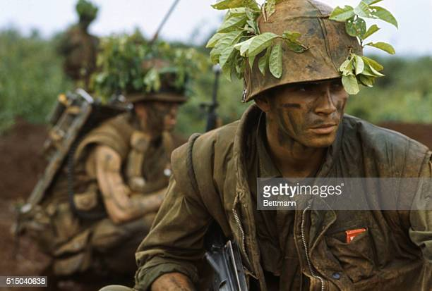 US Marines in camouflage move through low foliage in the Demilitarized Zone of Vietnam