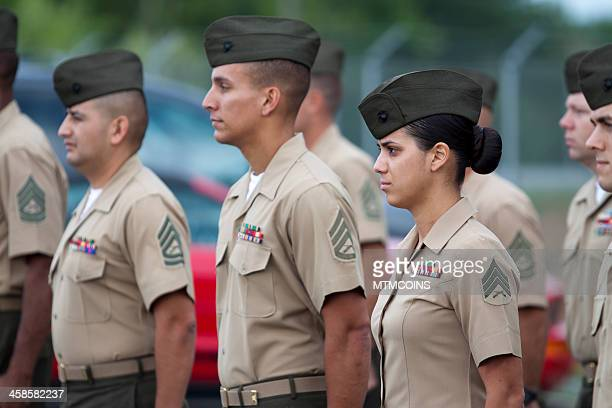 marines in formation - marines military stock photos and pictures