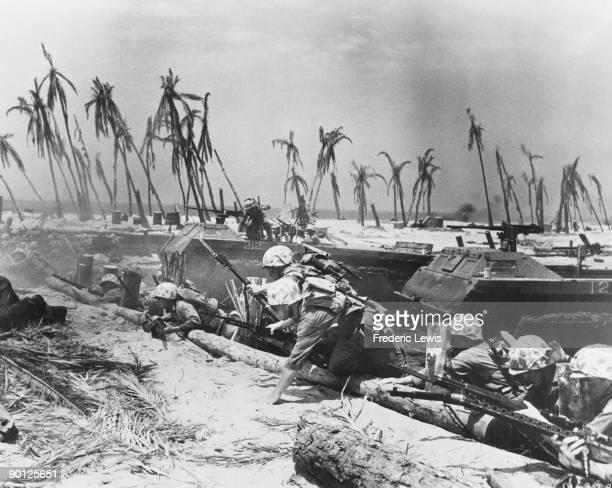 US Marines invade the island of Tarawa in a scene from Allan Dwan's World War II film 'Sands of Iwo Jima' California USA 1949