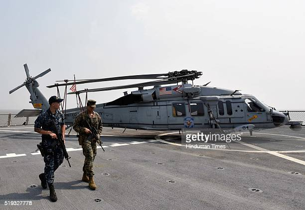 US marines keeping watch at USS Blue Ridge during a visit to India for a regularly scheduled port visit to promote friendships and strengthen ties on...