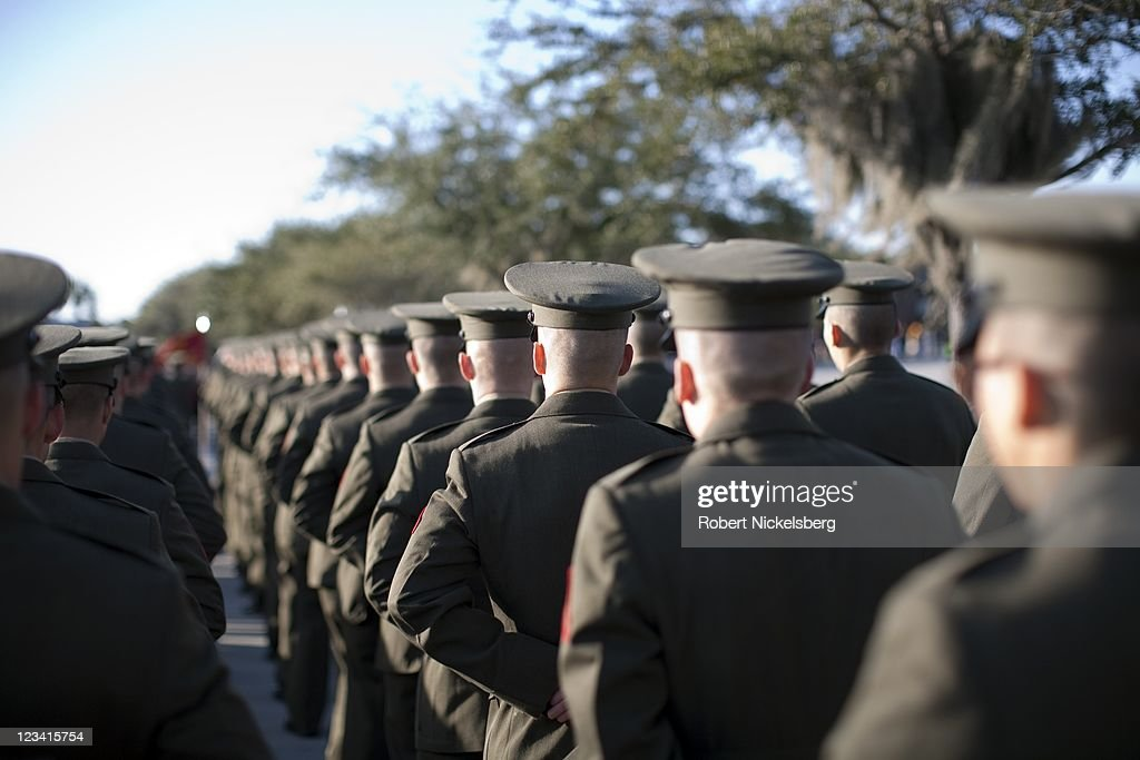 Parris Island Graduation Schedule 2020.Us Marines Line Up Before The Recruit Graduation Ceremony