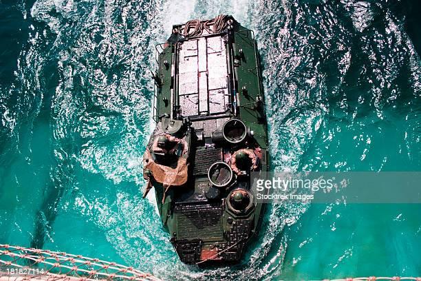Marines maneuver an amphibious assault vehicle into a well deck.