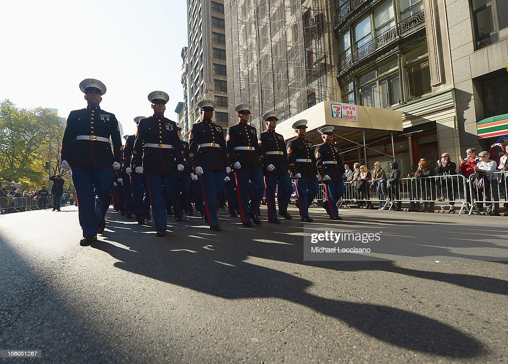 U.S. Marines march in the Veteran's Day Parade on November 11, 2012 in New York City. Former Mayor Ed Koch is the grand marshal for the parade, which expects to draw thousands of spectators and is the commemoration of the 50th anniversary of the start of the Vietnam War.