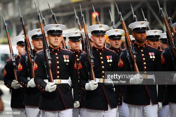 Marines march in the Veterans Day Parade on November 11, 2019 in New York City. President Donald Trump, the first sitting U.S. President to attend...