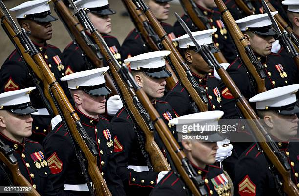 US Marines march on Pennsylvania Avenue outside the White House during the 58th presidential inauguration parade in Washington DC US on Friday Jan 20...