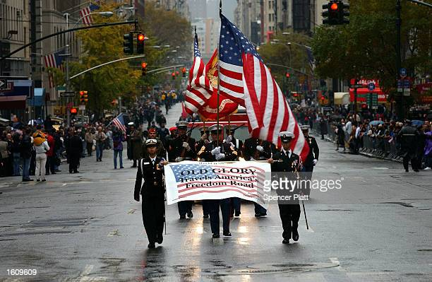 Marines march up 5th Ave during a Veterans Day parade November 11 2002 in New York City As America prepares for a possible war with Iraq in coming...