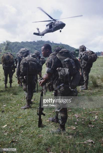US Marines near St Georges during the US invasion of Grenada in Oct 1983