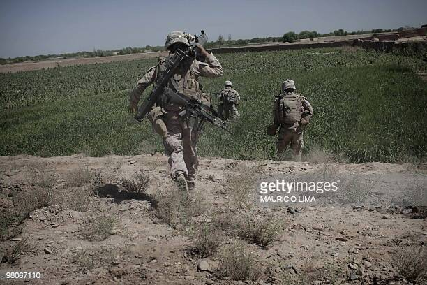 Marines of 3rd Battalion, 6th Marines, India Company, move towards Taliban positions in a poppy field under Taliban heavy fire Taliban while...