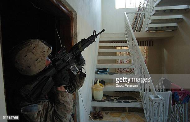S Marines of the 1st Light Armored Reconnaissance company as part of 1st Battalion 3rd Marines search houses for insurgents November 10 2004 in...