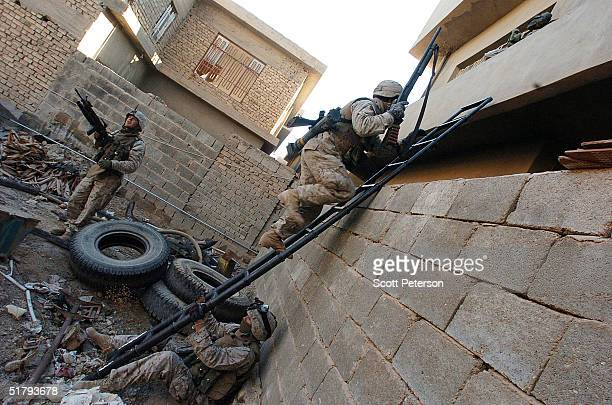 Marines of the 1st Light Armored Reconnaissance company as part of 1st Battalion 3rd Marines use a breach ladder to clear and search houses for...