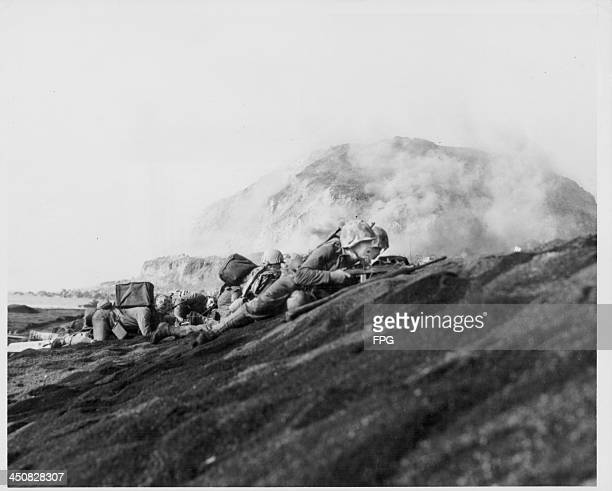 Marines of the 27th Division at the Battle of Iwo Jima during World War Two, Japan, 1945.