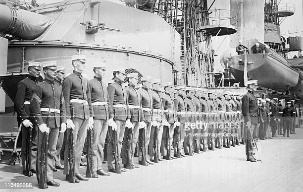 Marines on board battleship Wyoming which led fleet during 1913 unveiling ceremonies for memorial at entrance to Central Park, New York, to the...