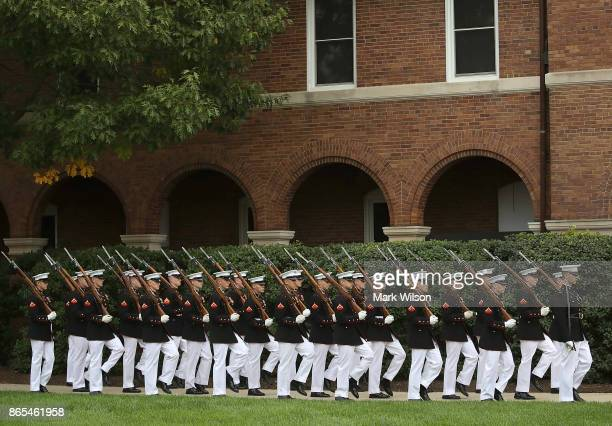 S Marines participate in a ceremony to commemorate the anniversary of the 1983 bombing of the Marine barracks in Beirut Lebanon at the Marine...