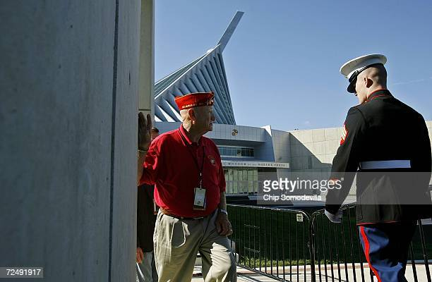Marines past and present gather for the dedication ceremony of the National Museum of the Marine Corps November 10 2006 in Quantico Virginia The...