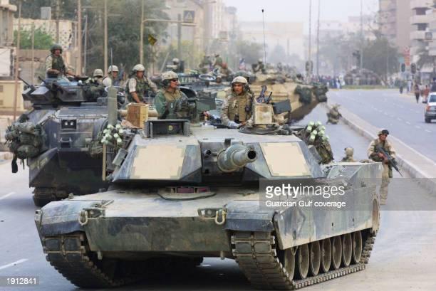 US Marines patrol Baghdad on April 10 2003 in Baghdad Iraq