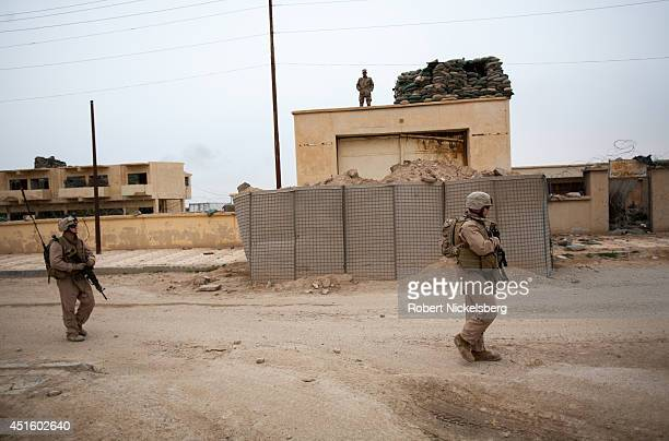 S Marines patrol near the IraqiSyrian border February 17 2007 in Husayba Iraq Husayba a strategic border crossing with Syria along the Euphrates...