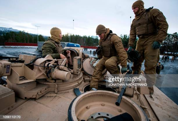 US Marines prepare their M1 Abrams tank to take part in an exercise to capture an airfield as part of the Trident Juncture 2018 a NATOled military...