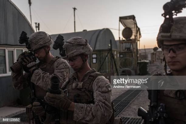 S marines prepare to man guard stations at Camp Shorab on September 11 2017 in Helmand Province Afghanistan About 300 United States Marines are...
